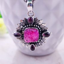 Sterling Silver Natural Pink Agate Druzy Garnet Silver Oxidised Boho  Pe... - $28.00