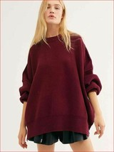 new Free People women sweater loose fit OB991232 burgundy red cotton sz ... - $42.56