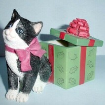 Lenox Holiday Kitty Cat Gift Box Handpainted Figurine 2014 Limit Edt 845384 New - $28.90
