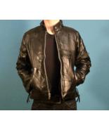 Black Leather Motorcycle Jacket - Diamond Plate Buffalo Leather, Size S - $96.95