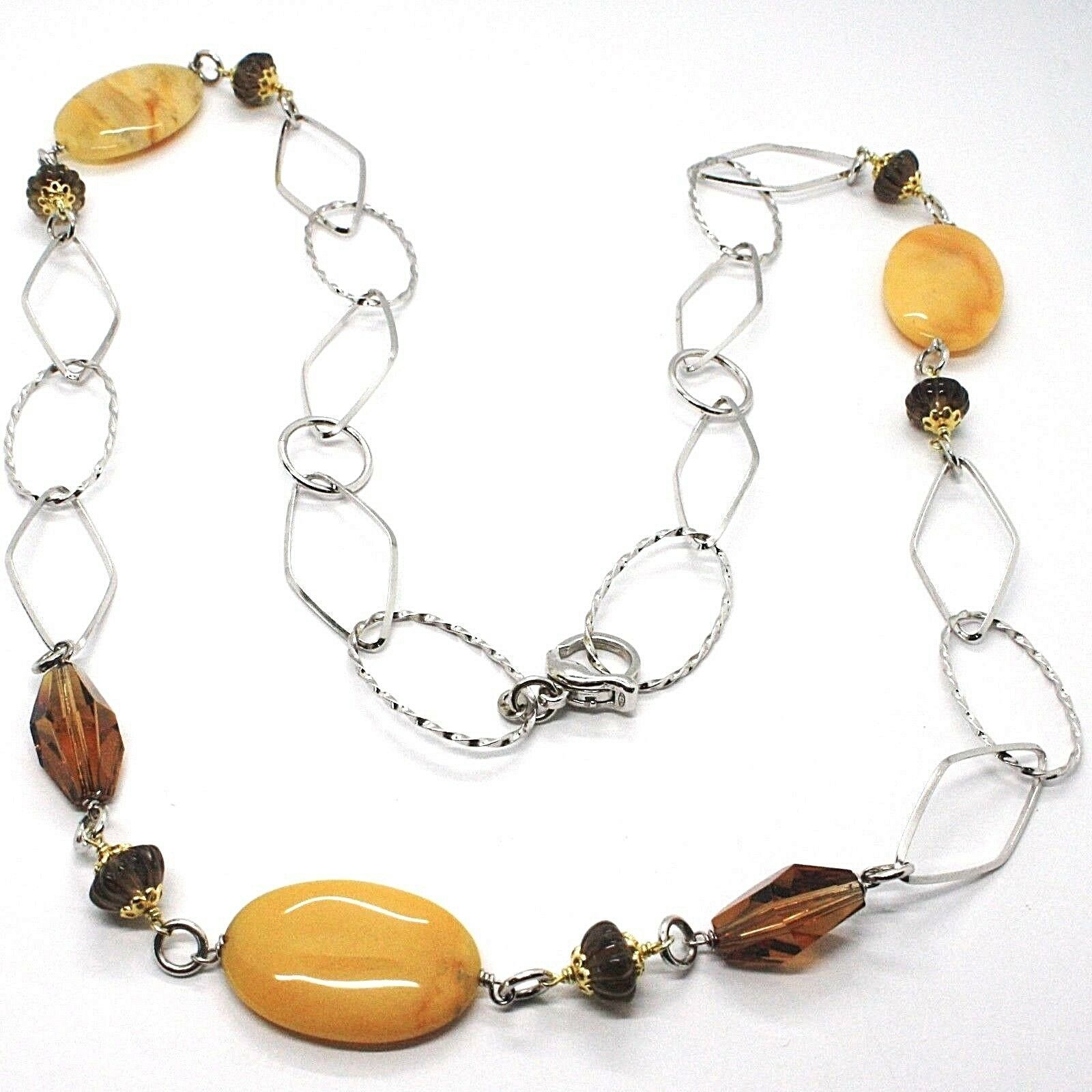 Necklace Silver 925, Jade Brown Oval, Quartz Smoky, Long 80 CM