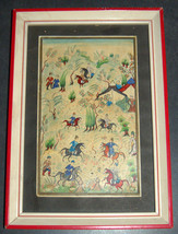 Antique Persian Handmade Miniature Painting Islamic Artwork Battle War Scene image 3