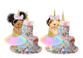 Unicorn Pink & Blue Burp Cloth Diaper Cake Baby Shower Gift and Centerpiece - $37.00
