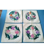 4 Throw pillow cases covers Hawaiian style orchids flower quilt  handmad... - $49.50