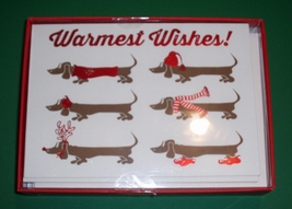 12 Dachshund Christmas Holiday Cards with Envelopes - Warmest Wishes - $14.00