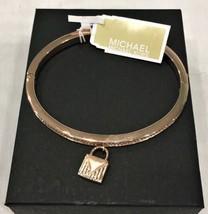 Michael Kors Logo Love Hinged Bracelet Rose Gold w/ Crystals Bling MKJ69... - $49.04