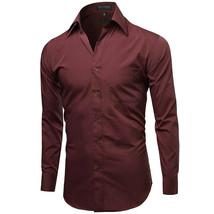 Omega Italy Men's Burgundy Dress Shirt Long Sleeve Regular Fit w/ Defect - XL image 2