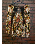 Entro Womens S Autumn Colors Floral Black Lace Billow Sleeve Top Boho Gypsy - $21.99