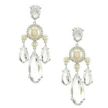 Kate Spade Crystal Glitz Glam Chandelier Faux Pearl Dangle Earrings WBRU... - $73.76