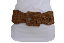 Women Hip Waist Brown Faux Leather Wide Elastic Belt Square Buckle Plus M L XL  - $12.73
