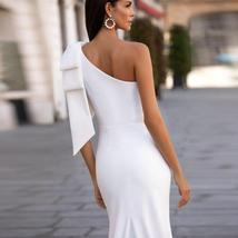 Sexy Sleeveless Single Bowknot Shoulder Solid Satin Mermaid Wedding Dress image 3