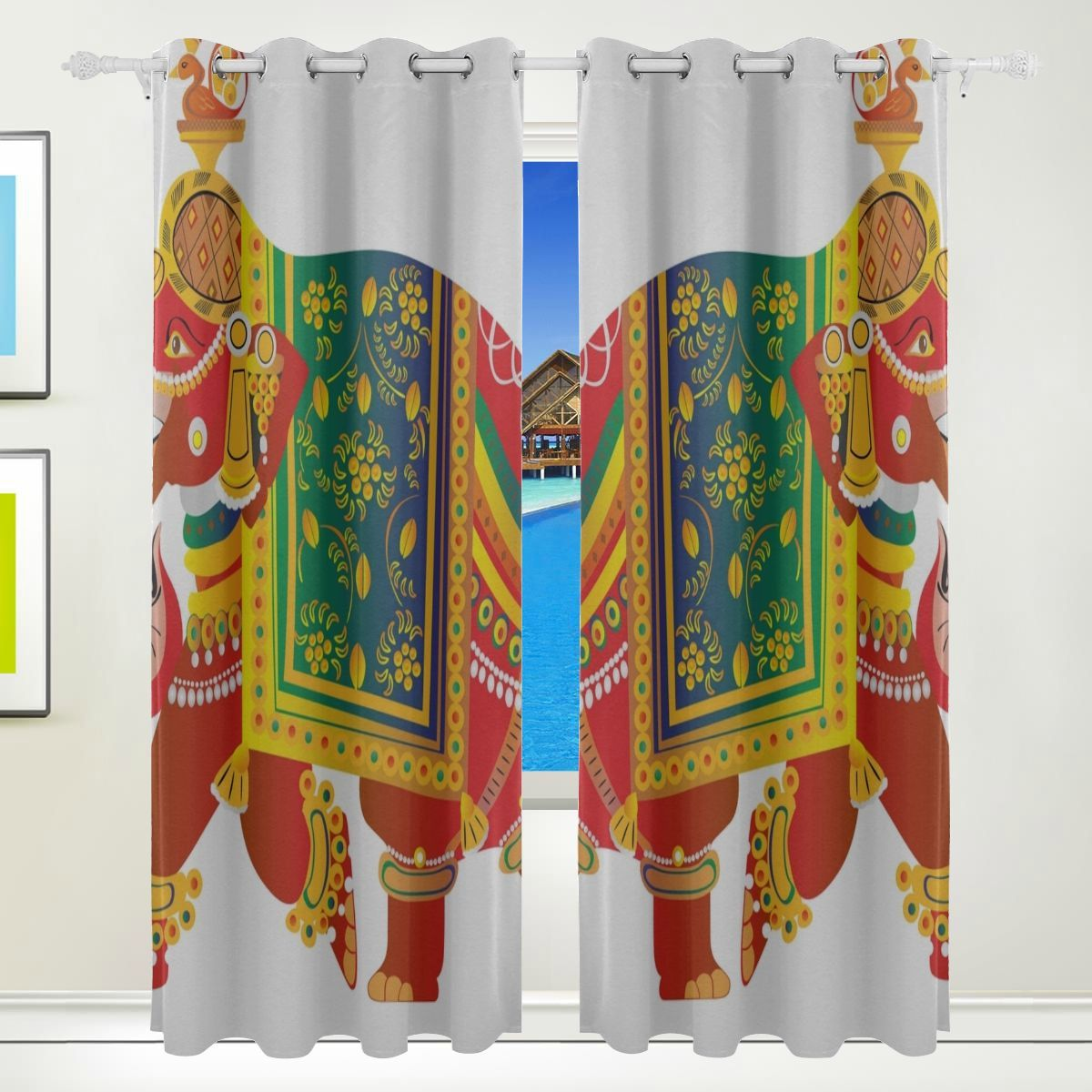 Cute Curtains Bedroom Tribal Elephant Ethnic Indian Animal
