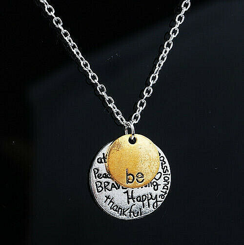 Primary image for BE BRAVE THANKFUL HAPPY Pendant Necklace Stainless Steel  NEW