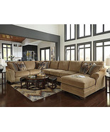 CAIN - Oversize Brown Chenille Living Room Sofa Couch Chaise Sectional S... - $2,455.76