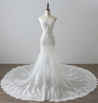 Off Shoulder White Lace China Wedding Dress Mermaid Sweet Appliqued Brid... - $182.66