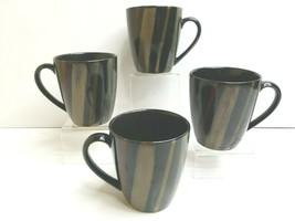 "4 Avanti Black 4721 Sango 4"" Stoneware Brown Red Stripes Hot Coffee Tea ... - $33.53"
