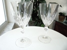 "Set of 2 Clear Crystal Water Goblets 7"" Tall - $27.71"