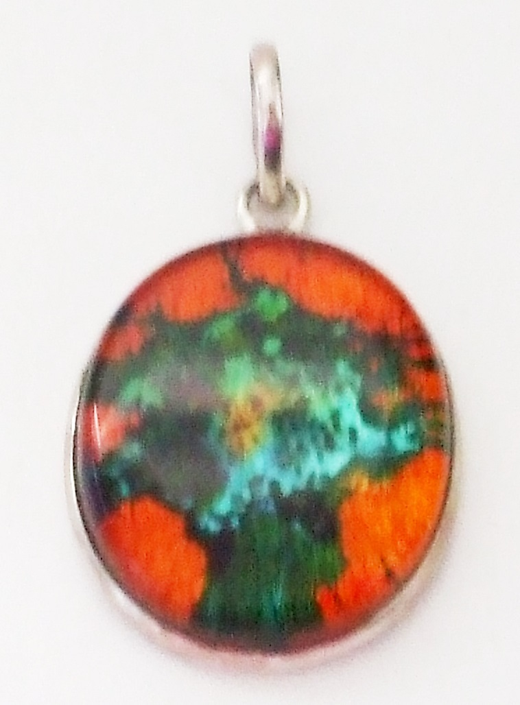 Primary image for P102  AMAZING ORANGE AND GREEN FUSED GLASS 925 STERLING SILVER OVAL PENDANT