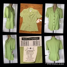 NEW! Dani Max Top (Jacket) Lime Green Size 8 Button Front Short Sleeves ... - $6.53