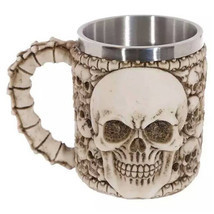 Double Wall Stainless Steel 3D Wolf Head Skulls Mug Coffee Tea Handgrip ... - $38,04 MXN+