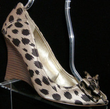 Guess by Marciano Pillow 2 satin animal print bow peep toe wedge heels 9.5M - $29.60