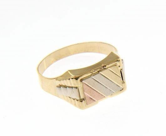 18K YELLOW WHITE ROSE GOLD BAND MAN RING RECTANGULAR SATIN BRIGHT MADE IN ITALY