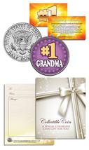 #1 GRANDMA Grandparents' Day JFK Kennedy Half Dollar Colorized U.S. Coin - $8.86