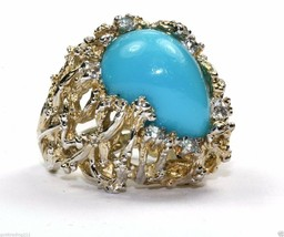 Vintage Faux Turquoise Abstract Crossover Lines Dome Ring 925 Silver Rg 1914 - $49.99