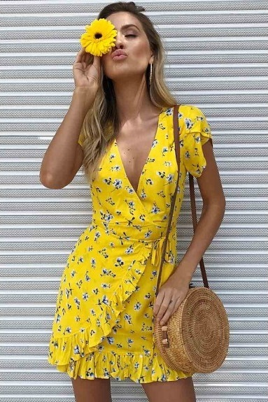 New yellow V neck floral ruffle short wrap dress short sleeve mini spring summer