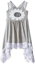 NWT Bonnie Jean Sequin Daisy Flower Girls Grey Sharkbite Lace Hem Dress ... - $16.99