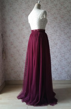 BURGUNDY Wedding Full Long Tulle Skirt Burgundy Wine Red Bridesmaid Outfit Plus image 7