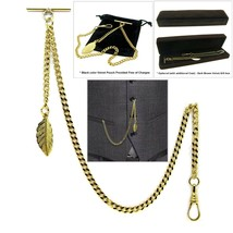GOLD Albert Chain Pocket Watch Curb Link Chain T Bar + Swivel Clip Star ... - $16.99+