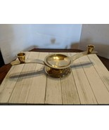 Set of 3 Vintage Brass 2 Taper Candle Stick 1 Pillar Holders Hollywood R... - $24.97
