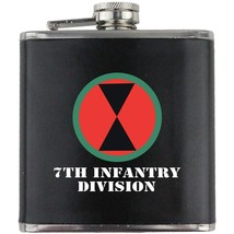 Army 7th Infantry Division Veteran Full Color Groomsman Gift Leather Wrap Flask - $19.79
