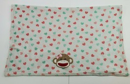 Baby Starters Sock Monkey Bow Head Pink Green Heart Polka Dot Girls Blanket  - $46.43