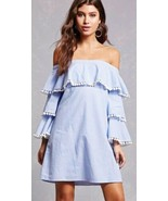 Forever 21 Blue & White Striped Tiered Ruffle Pom Pom Off The Shoulder D... - $20.19