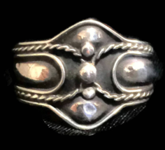 Vintage Cigar Band Sterling Silver Thumb Ring Rope Ball Design Size 7  - $35.00