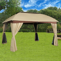 Patio Backyard Double Roof Vented Gazebo Canopy with Mosquito Netting, Sand - $279.99