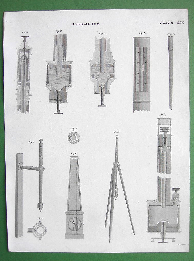 BAROMETER Construction by Hooke Troughton - 1830 Antique Print Engraving