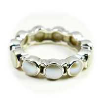 Natural Birthstone Pearl Ring Band Silver Handcrafted Sizes 4,5,6,7,8,9,... - $38.41