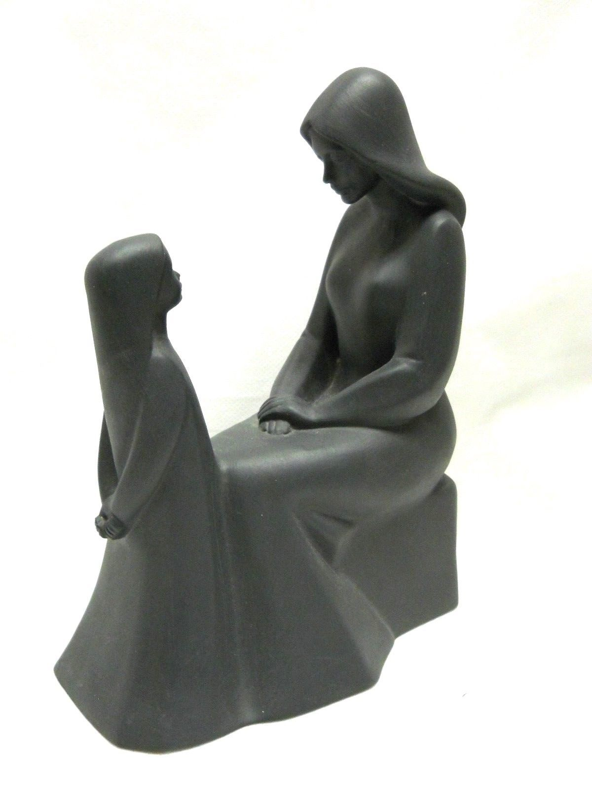 Vintage Royal Doulton Mother and Daughter Figurine in Rare Black