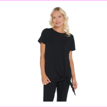 AnyBody Cozy Knit Tie Front Top, Black, Small - $17.60