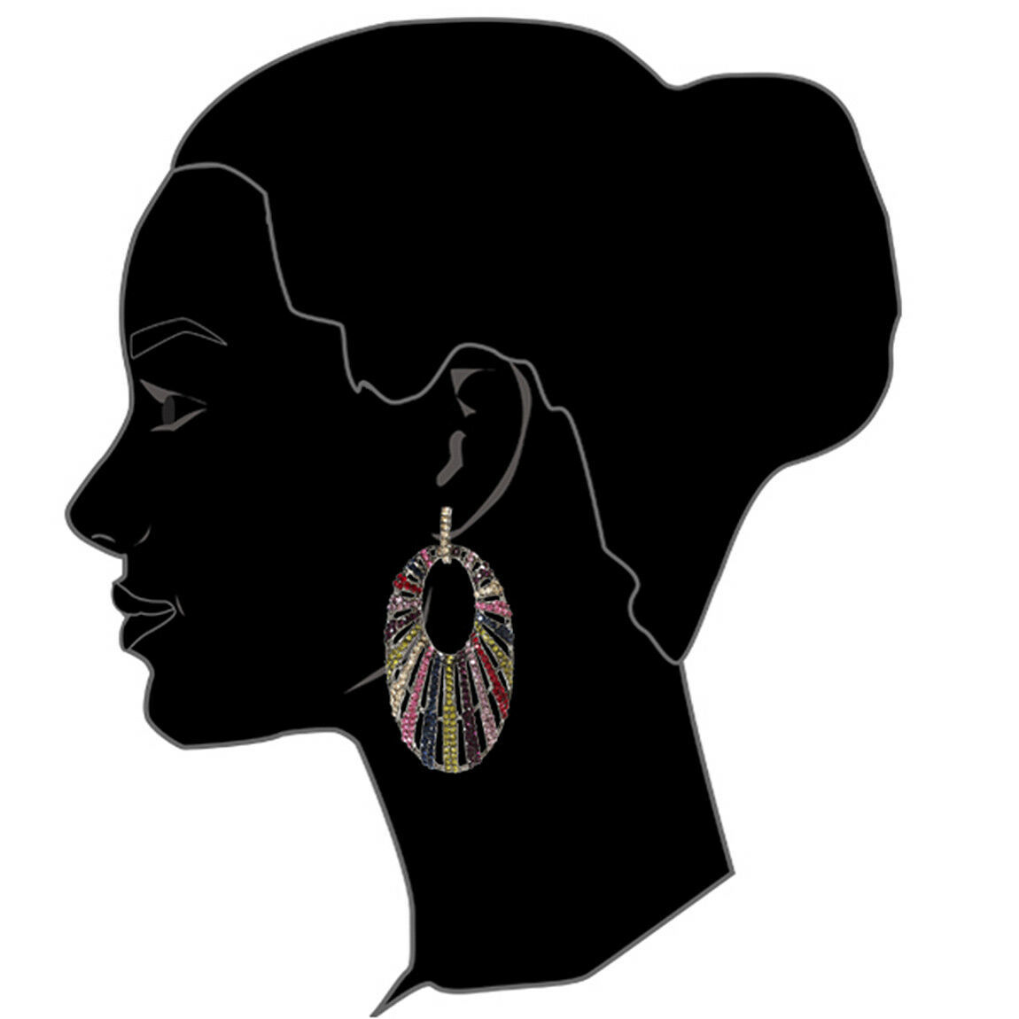 Amrita Singh Gunmetal Rainbow Crystal Halo Drop Dangle Earrings ERC 6107 NWT
