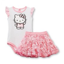 Hello Kitty baby girl's bodysuit & pink lace tutu skirt - 18M or 24M - $15.99