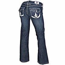 Laguna Beach Jean Company Distressed Dark Wash Fleur De Lis Flap Pockets... - $49.99