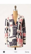 Field FLower Anthropologie Pink Blue Experimental Graphics Cardigan Swea... - $34.19