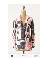 Field FLower Anthropologie Pink Blue Experimental Graphics Cardigan Swea... - £26.47 GBP