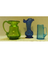 Vintage Assortment Mid Century Art Glass Vases // Crackle Glass // Blue ... - $20.00