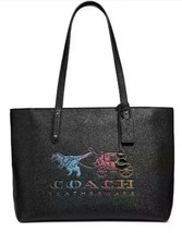 Coach Central Leather With Rexy And Carriage Black Tote Bag Handbag Larg... - $385.93 CAD