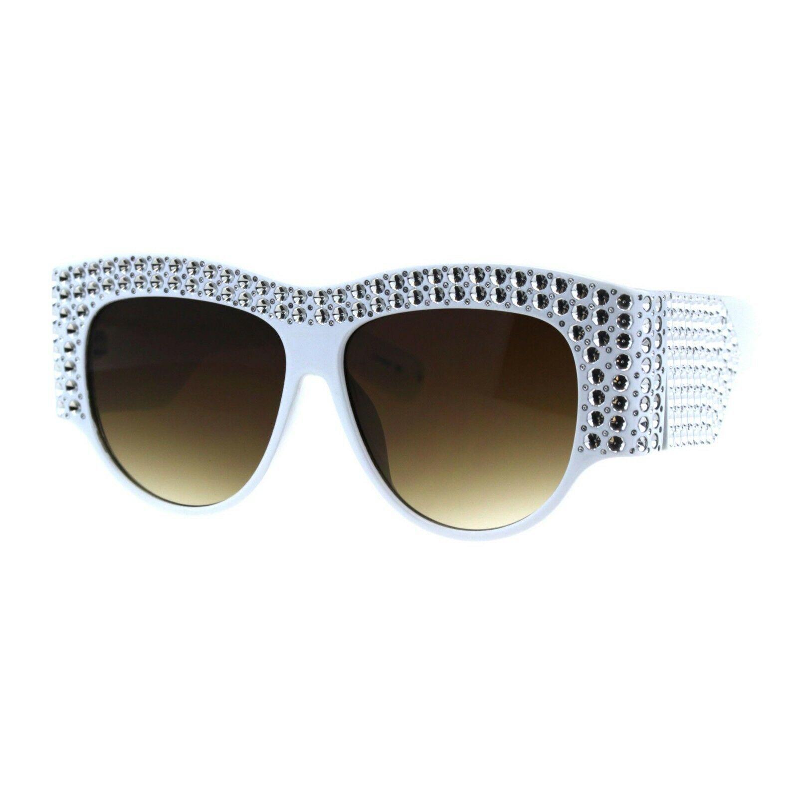 Womens Sunglasses Bold Thick Oversized Frame Silver Bling Decor UV 400